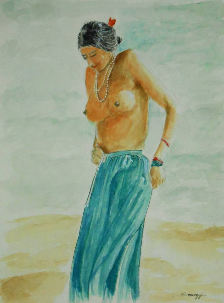 Indian woman oil painting nude
