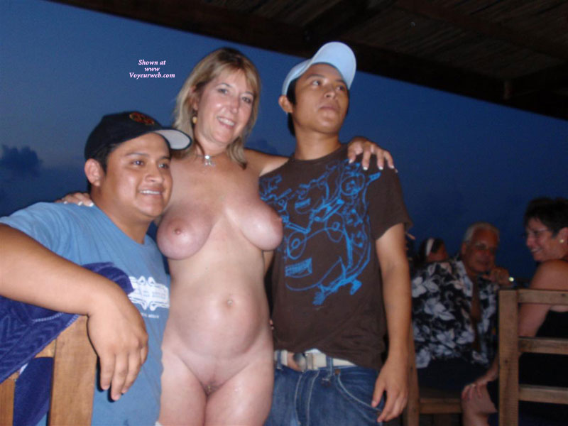 Wife naked in a bar