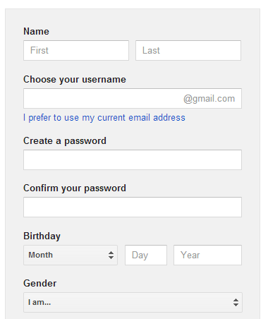 Google email account sign up