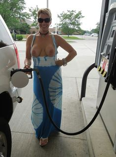 Nude at the gas pump
