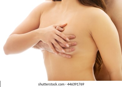 Sexy hot naked women touching boobs